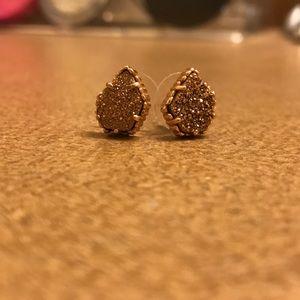 Tessa Stud Earrings in Rose Gold Drusy